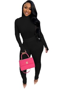 Sexy 2pc Solid Plain Bodycon Top und Stacked Legging Set