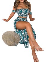 Summer 2pc Matching Print Crop Top and Long Skirt Set