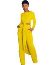 Camicia lunga con spacco laterale in tinta unita 2 pezzi e set di pantaloni abbinati