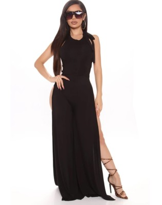 Solid Color Sexy Side Slits Sleeveless Jumpsuit