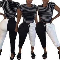 Pantaloni da pista casual con coulisse a contrasto