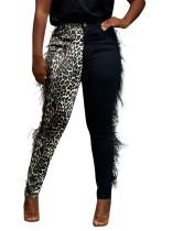 Pantalón felpa en contraste con estampado de leopardo