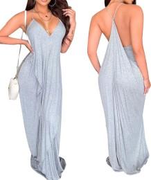 Серое сексуальное длинное платье свободного кроя с лямкой на шее