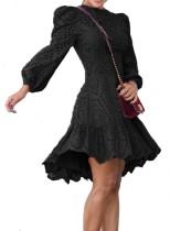 Vestido liso estilo evasé ahuecado occidental con mangas abullonadas