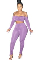 Solid Color 2pc Sexy Strapless Crop Top and Stacked Pants Set