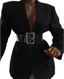 Solid Plain Elegant Langarm Blazer mit Gürtel