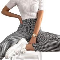 Pantalones delgados de cintura alta a cuadros en blanco y negro