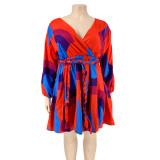 Plus Size V Neck Multi-color Pleated Skater Dress with Belt