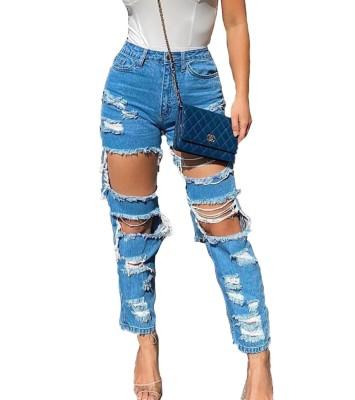Calça Jeans Danificada com Cintura Alta e Corte Azul