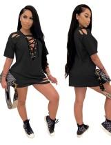 Schwarzes Schnür-Kurzarm-Hemdkleid