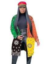 African Contrast Print Long Coat