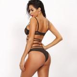 Sexy zwarte kanten beha en panty lingerie set
