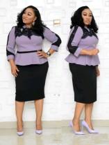 Plus Size Donne mature Elegante abito peplo con maniche lunghe
