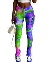 Pantalones casuales de bolsillo con efecto tie dye