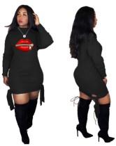 Vestido camisero de manga larga con lazo lateral en negro y estampado de labios