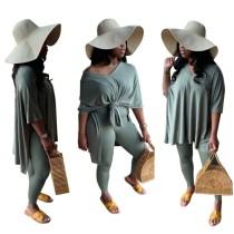 Conjunto de camisa suelta con abertura lateral informal de color sólido de otoño y conjunto de leggings ajustados