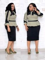 Vestido peplum elegante de talla grande para mujeres maduras con mangas completas