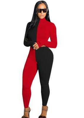 Conjunto de calça de cintura alta e top de corte com contraste de outono 2 unidades combinando