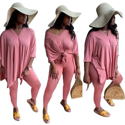 Conjunto de camisa folgada com fenda lateral casual outono cor sólida e legging justa