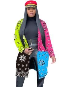 Длинное пальто с африканским контрастным принтом