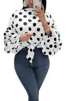 Gestrikte herfst polka print overhemd met popmouwen