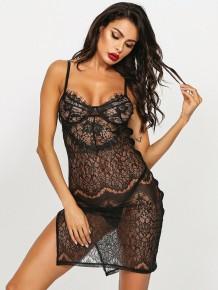 Sexy pizzo nero vedere attraverso il set di lingerie