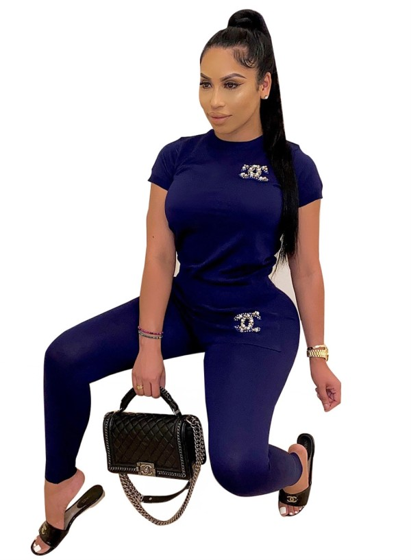 Casual Two Piece Matching Rhinestone Top and Pants Set