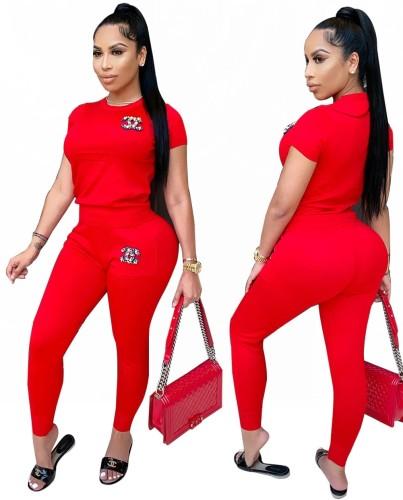 Set di pantaloni e top in strass abbinati a due pezzi casual