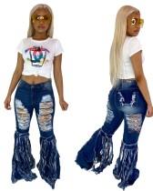 Mode blauwe hoge taille gescheurde kwastjes jeans