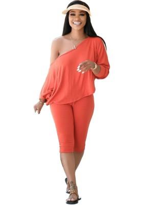 Conjunto de shorts e camisa solta casual outono cor sólida
