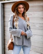 Suéter largo holgado con cuello en V occidental y mangas de murciélago