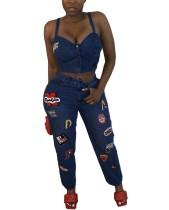 Conjunto de jeans y top corto con tirantes azules a juego de dos piezas