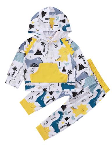 Kinderen jongen herfst cartoon print hoodie shirt en broek set