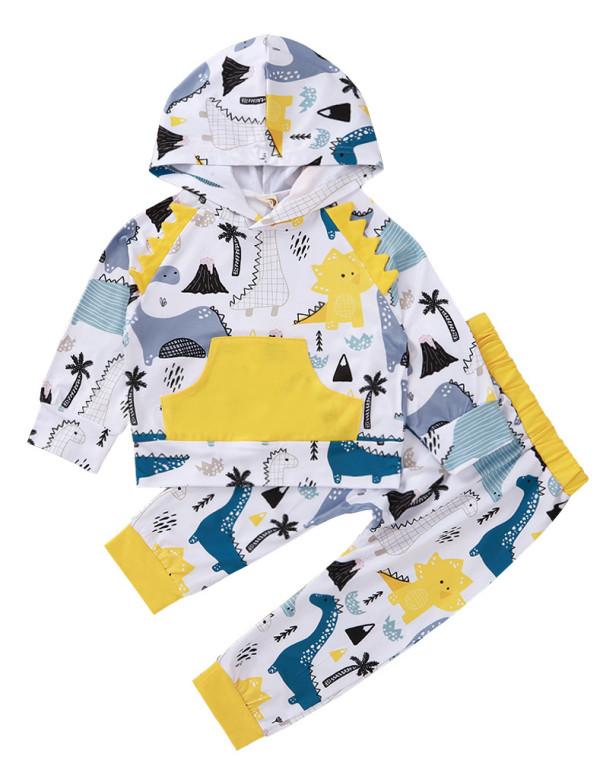 Детский комплект осенней рубашки и брюк с капюшоном с принтом мультфильмов для мальчиков