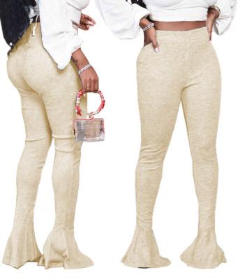 Calças de cintura alta sexy de cor sólida