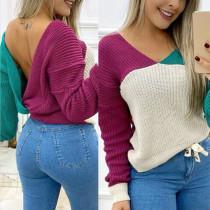 Sexy V-förmiger Pullover mit Rücken-Kontrast