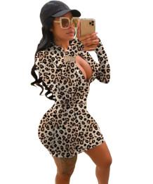 Vestido com estampa de dólar sexy com zíper e mangas compridas