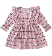 Kinderen meisje herfst geruite ruches jurk