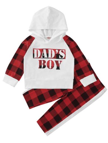 Kids Boy Autumn Plaid Hoodie Sweatsuit