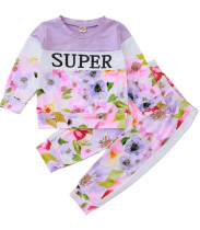Conjunto de camisa y pantalón floral de otoño para niña