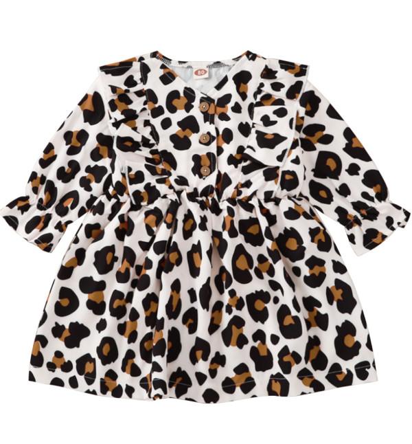 Детское осеннее платье с леопардовым принтом для девочек
