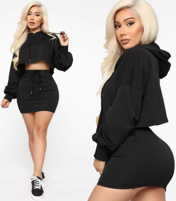 Autumn Solid Color Hoodie Crop Top and Mini Skirt Set