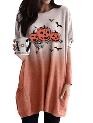 Camisa longa feminina com estampa de halloween