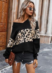 Пуловер с леопардовым принтом и V-образным вырезом Свободный свитер
