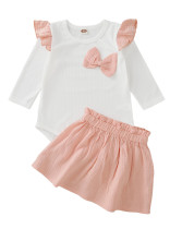 Baby Girl Autumn White und Pink zweiteiliges Rock-Set