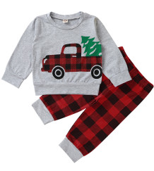 Kinder Boy Autumn Car Print Plaid Sweatsuit