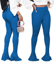 Solid Color Sexy Bell Bottom High Waist Pants