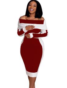 Vestido midi elegante de manga larga con contraste de hombros descubiertos