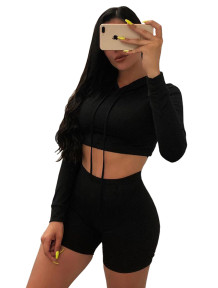 Autumn Solid Color Hoodie Crop Top and Shorts Set