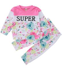 Conjunto de calças e camisas florais de outono para crianças